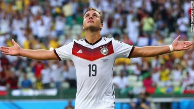 FORTALEZA, BRAZIL - JUNE 21: Mario Goetze of Germany celebrates scoring his team's first goal during the 2014 FIFA World Cup Brazil Group G match between Germany and Ghana at Castelao on June 21, 2014 in Fortaleza, Brazil. (Photo by Martin Rose/Getty Images)